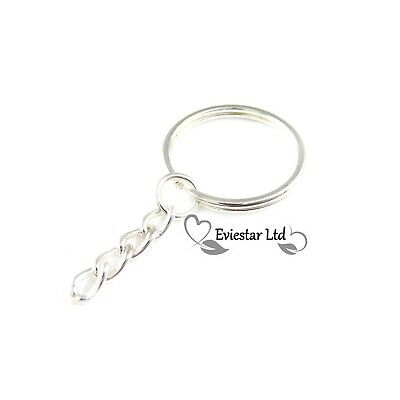 100pcs Silver Plated Keyring Blanks 4 Link Flat Chain Findings Split Rings RMP