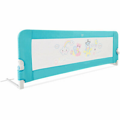69'' Breathable Baby Children Toddlers Bed Rail Guard Safety Swing Down Blue