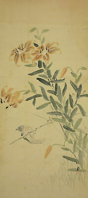 JAPANESE PAINTING HANGING SCROLL Japan lily BIRD ANTIQUE VINTAGE PICTURE d298