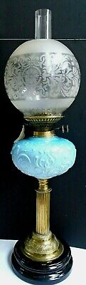 Lovely Victorian large oil lamp, moulded opaline glass bowl, brass column 70 cm
