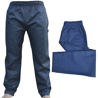 Navy Chef Trousers Excellent Quality Elasticated Pants 3 Pockets Navy Trousers