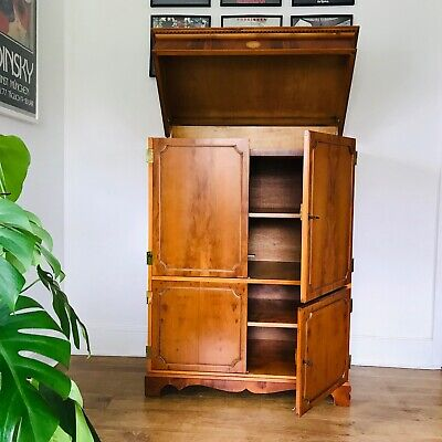 Yew Lift Top  Butlers Cabinet Reproduction Antique Georgian Abbeycraft