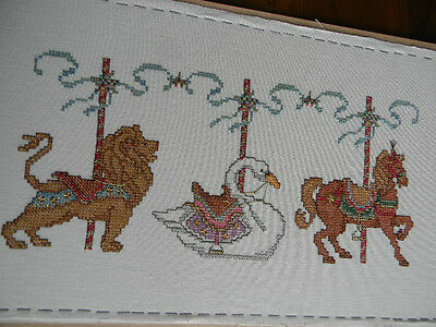Completed Simplicity Cross Stitch MERRY-GO-ROUND Carousel Nursery Baby 20x11 New