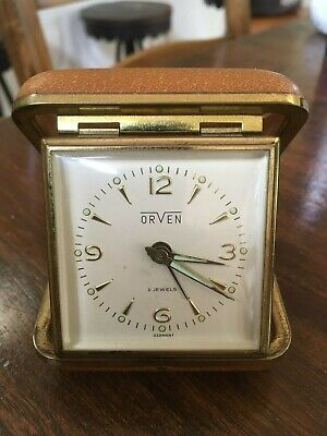 Vintage ORVEN TRAVEL ALARM CLOCK 2 JEWELS made in GERMANY