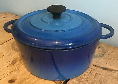 Nomar  Cast Iron  Small Stew/ Casserole Dish With Handles  * Blue* Used