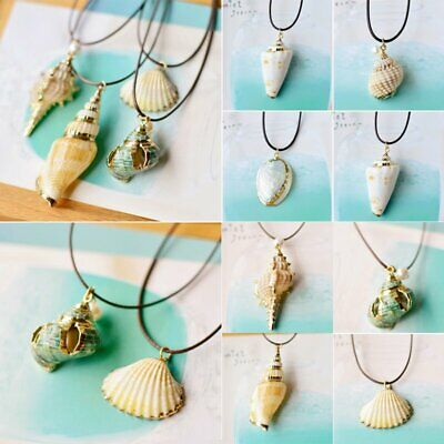 Retro Boho Natural Starfish Conch Beach Shells Seashell Pendant Necklace Chain