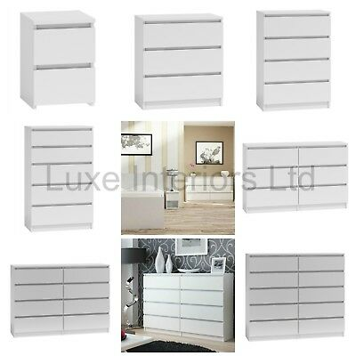 Modern Style White Chest Of Drawers Bedside Table Range 2 3 4 5 6 8 10 Drawer