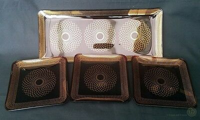 VTG Ruby Red Glass Tray / Dish Set Gold Geometric Line | FREE Delivery UK*