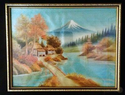 VTG Framed Silk Embroidery Scene Of Mount Fuji Of Japan | FREE Delivery UK*