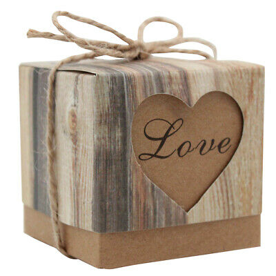 50pcs Kraft Paper Chocolate Retro Candy Gift Boxes Wedding Party Shower Favor