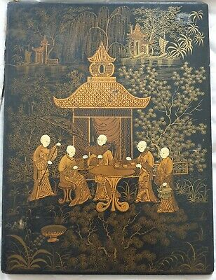 19th Century Chinoiserie Blotter/Folio in Black Lacquer and Gilt Decoration