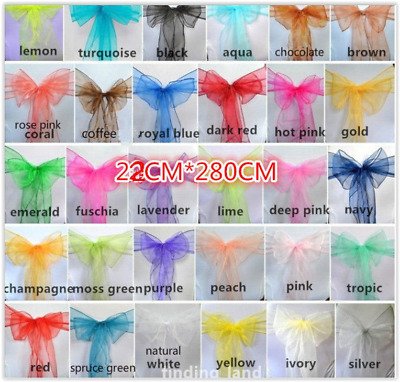 Job lots 450pc/30p each 800pc /25p Premium Organza Wedding Chair Sash  22*280cm