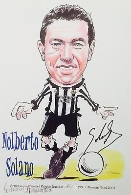 Nobby Solano HAND SIGNED Newcastle United Legend Caricature Photograph Incl. COA