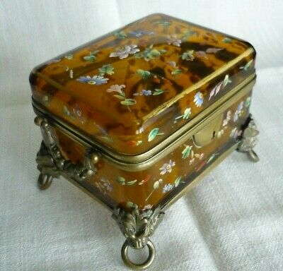 Antique French/Bohemian Glass Casket / Trinket Box Amber hand painted - Moser?