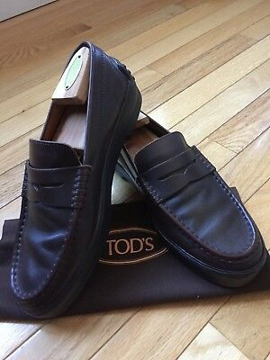 2a00c2bae65 Tod s Penny Loafer Winter Gommino Slip On Shoes Brown Leather Men s Size  9.5M