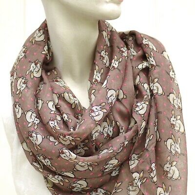 Beautiful Women's soft floaty long fashion scarves, rabbit design, 5 colourways.