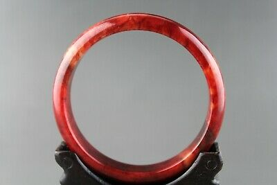 Exquisite Chinese old antique red blood jade hand-carved bangle bracelet 0016