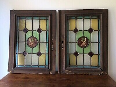 Pair Two French Leaded Antique Lead Stained Glass Window Panel Griffin Reclaimed