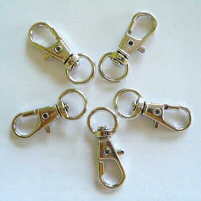 32mm Silver Tone Lobster Trigger Swivel Clasps Findings Keyrings Hook Key ROM7