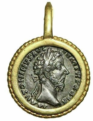 Marcus Aurelius Denarius Set in Roman Gold Bezel Mount Beautiful Ancient Jewelry