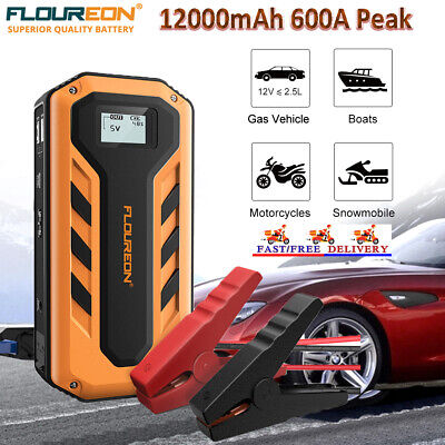 12000mAh 600A Peak Jump Starter Battery Booster Charger Rescue Pack Power Bank