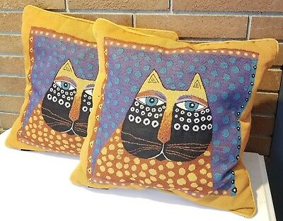 "Laurel Burch Throw Pillows Colorful Cat Face Dotted Tapestry 18"" Square PAIR"