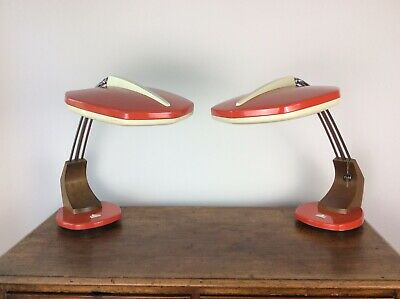 Pair Fase Falux 60s 70s Vintage Retro Mid Century Red Madrid Desk Lamps Original