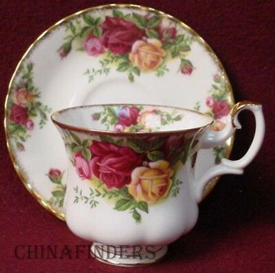 ROYAL ALBERT china OLD COUNTRY ROSES vintage stamp Cup & Saucer SET