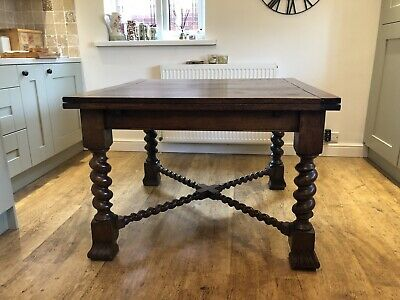 Antique Vintage Extending Dining Table With Chunky Barley Twist Legs And Stays