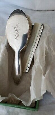 Antique sterling silver mongramed child's brush and comb,original box
