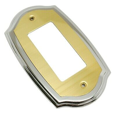 AMEROCK Accents Solid Brass GFI Rocker Outlet Switch Plate Cover Brass & Chrome