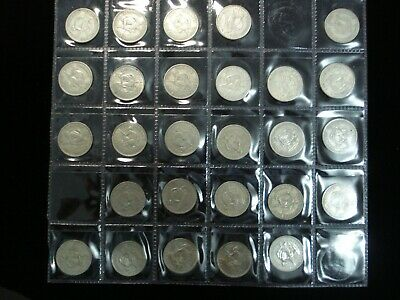 1933-1965 New Zealand NZ complete Shilling Set inc Silver Coins  #NY6