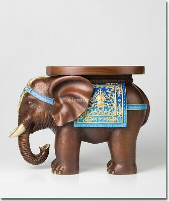 20'' bronze brass copper carving beast animal Elephant seat table chair stool