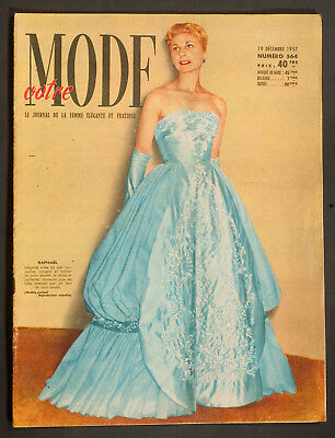 'votre Mode' French Vintage Magazine / Pattern New Year Issue 19 December 1957