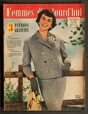 'femmes D'auourd'hui' French Vintage Magazine Tailleur Pattern 1 May 1958