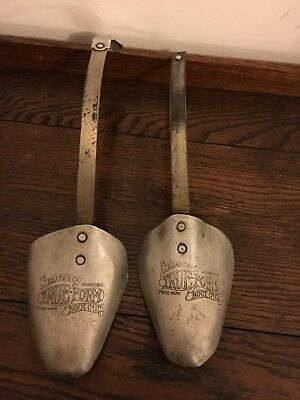 Pair of Vintage Metal Shoe Trees. Retro Shabby Chic. Quirky Display Item. Silver