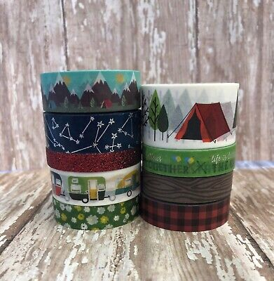 9 Rolls Camping Washi Tape Tube Papercraft Scrapbook Planner Supply stars plaid