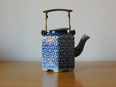 Chinese Blue & White Export Porcelain Hexagonal Teapot with Brass Handle