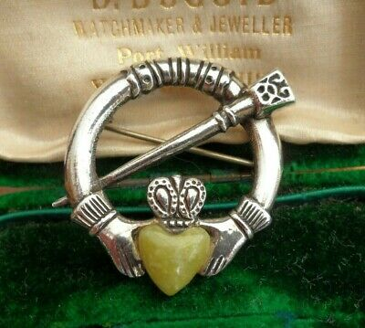 Vintage Jewellery Irish Silver Connemara Agate Celtic Claddagh Tara  Brooch Pin