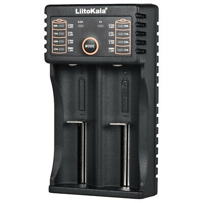 2 Slots LCD Smart Battery Charger for Rechargeable Batteries 18650 17500