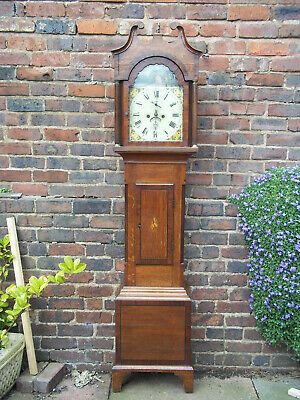 8 Day Oak and Mahogany Longcase clock painted Dial J Trist Torquay