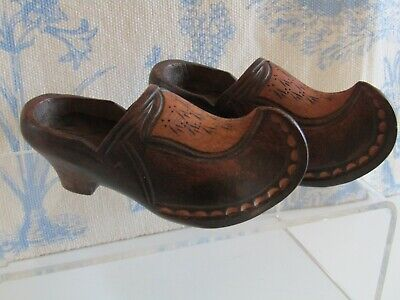 Antique/Vintage Hand Carved Miniature Wooden Clogs