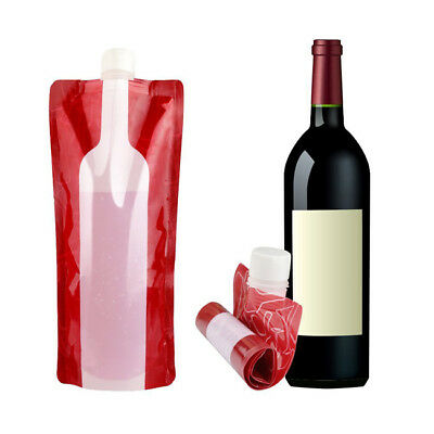Foldable Collapsible Plastic Red Wine Bag Flask for Travel Camping Outdoor WE