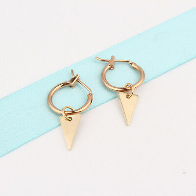 Women Ladies Small Triangle Earrings Round Circle Hoop Earring Jewelry Gifts WE
