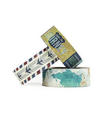 3 Rolls travel airplane map Washi Tape  Decorative Planner Supply journal bujo