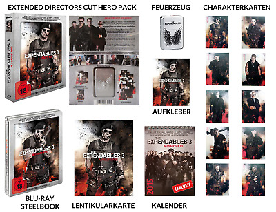 THE EXPENDABLES 3 Hero Pack Extended Director's Cut Limited Steelbook BD Blu-ray
