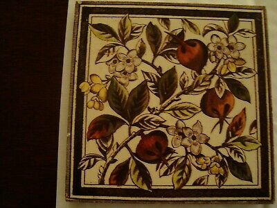 Antique Victorian Aesthetic Floral and fruit tile 19/96
