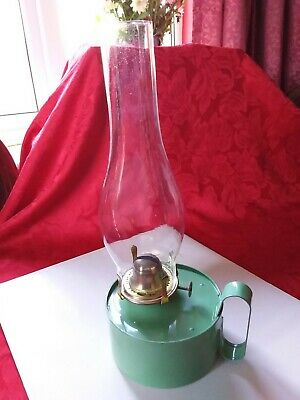 Vintage Green Oil / Paraffin Lamp Original Made In England