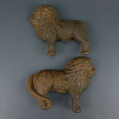 Small Cast Iron Lion Figurine - Fence Top or Possible Bank?