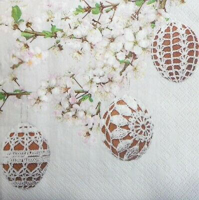 4 x Single Paper Napkins  Easter Eggs and Narcissus Flowers  Decoupage Craft 209